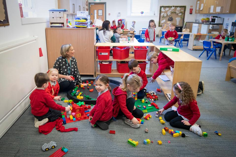 Inverkip Primary Nursery pupils during their first day back at Inverkip Primary School in Inverclyde. Scotland's youngest pupils have returned to the classroom as part of a phased reopening of schools (PA)