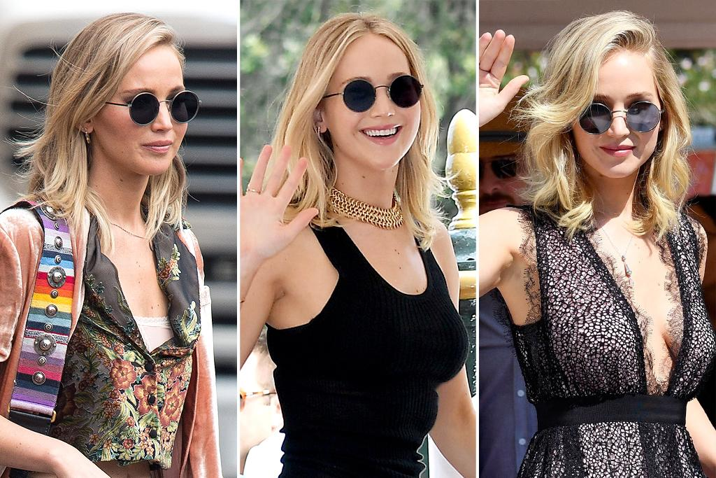 """<p>Jennifer Lawrence's <a rel=""""nofollow"""">shades</a> are the perfect balance of boho and glam — just like her style aesthetic!  <b>Look for Less: </b>Cole Haan women's round aviator polarized metal frame sunglasses, $34.97; <a rel=""""nofollow"""">nordstromrack.com</a></p>"""