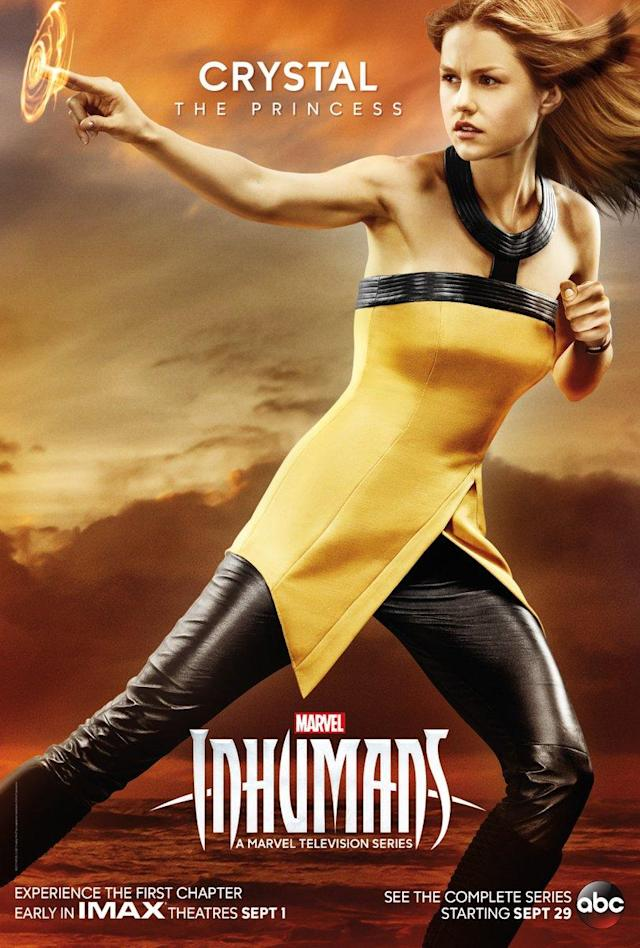 "<p>A former member of the Fantastic Four in the comics, Crystal has traditionally been the most human of the Inhumans. She is also the first Inhuman to marry a human; will that empathy for an ""alien"" race be evident in this new onscreen version?<br><br>(Photo: MARVEL) </p>"