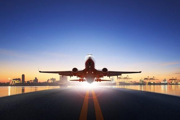 Cargo airplane taking off from runway