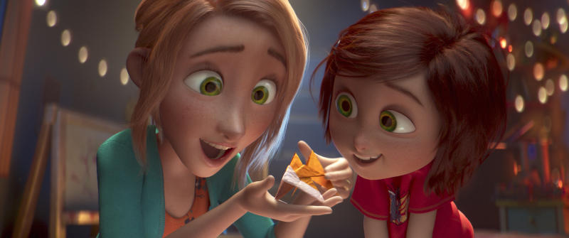 "This image released by Paramount Animation shows June, voiced by Sofia Mali, right, and her mom, voiced by Jennifer Garner, in a scene from the animated film ""Wonder Park."" (Paramount Animation via AP)"