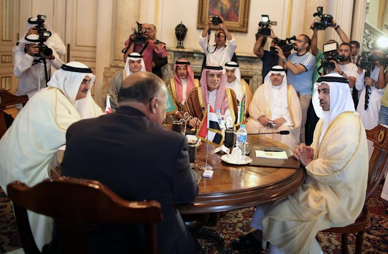 The foreign ministers of Bahrain, Egypt, Saudi Arabia and the United Arab Emirates meet in Cairo on July 5, 2017 to discuss the diplomatic crisis with Qatar (AFP Photo/Khaled ELFIQI)
