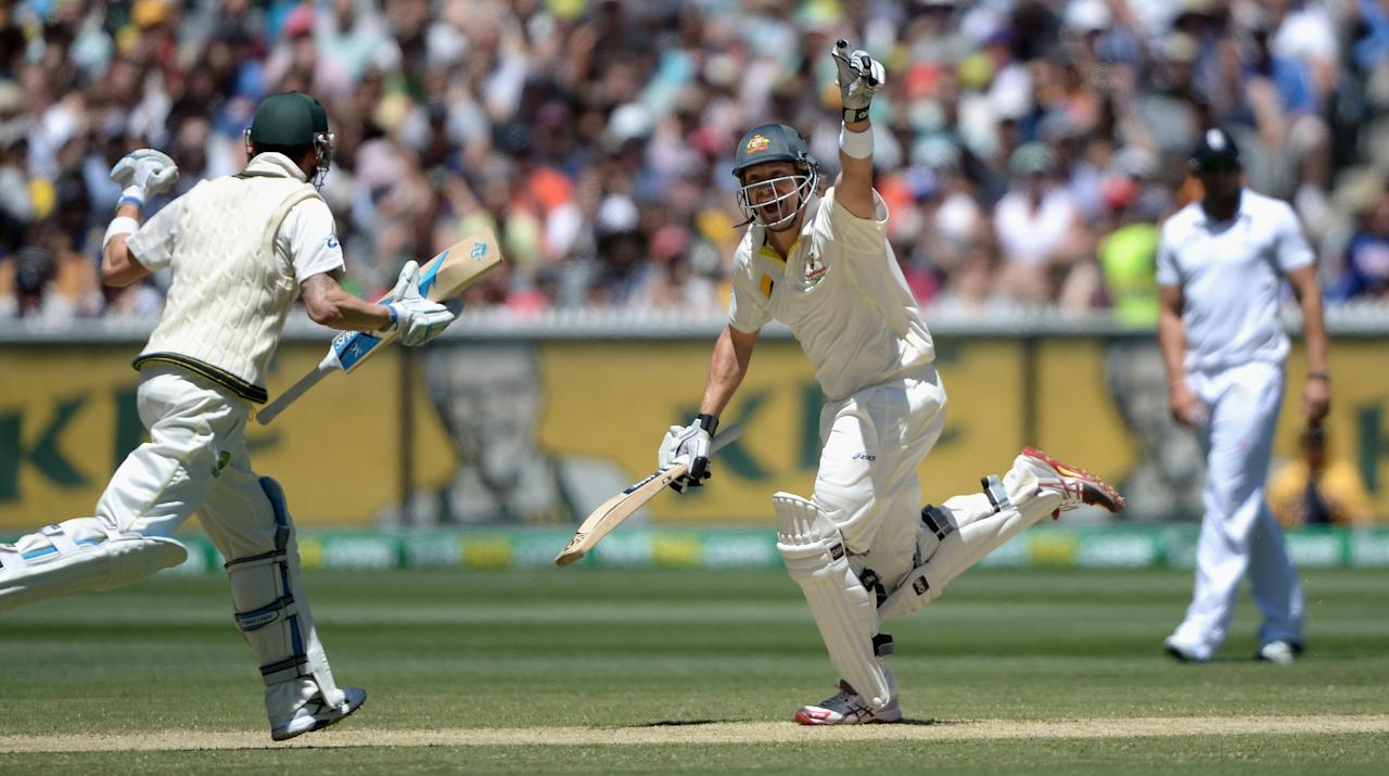 MELBOURNE, AUSTRALIA - DECEMBER 29:  Shane Watson of Australia celebrates winning the Fourth Ashes Test Match between Australia and England at Melbourne Cricket Ground on December 29, 2013 in Melbourne, Australia.  (Photo by Gareth Copley/Getty Images)
