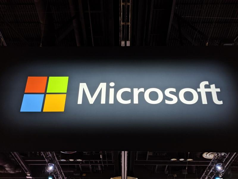 Microsoft logo at Ignite 2019