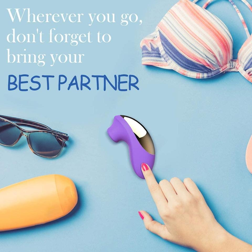 """<h2>Bombex Clitorial Sucking Vibrator</h2><br><strong>What is it?</strong> A reader-favorite sex toy boasting ten different suction speeds, over 4,000 glowing reviews, and countless orgasms<br><br><strong>What's the hottest take?</strong> Reviewer ThrowMyFaith, who called this top-rated vibrator """"a literal ride,"""" described her experience with cinematic accuracy: """"Fade in. Pictured, you, going about your day on the ol' Amazon, checking out some adult toys that are going viral. You read some of these reviews and think 'Ah yes, that's just what I'm looking for!' You know yourself, you know what you like, you've been around the block a few times with adult products, you think you can handle it.<br><br>You can't. I love this thing, but I'm sitting here on the lowest setting and my leg starts kicking like a dog getting its belly scratched after .5 seconds once I find the right angle. I now fully understand the reviews for similar products who say they turned it on and screamed, fumbled to turn it down, accidentally turned it up, passed out, projected themselves into the astral plane, met God, and never really came back. This isn't the old me typing this, it's simply what's left of me.<br><br>Nice packaging, does take a while to charge but conversely will probably take me a while to wear the battery back down seeing as I can only use it for about six seconds at a time before I die. Seems easy enough to clean. Recommend only if you're comfortable with focused, intense sensations and have written your will.""""<br><br><strong>BOMBEX</strong> Clitorial Sucking Vibrator, $, available at <a href=""""https://amzn.to/38lZZRt"""" rel=""""nofollow noopener"""" target=""""_blank"""" data-ylk=""""slk:Amazon"""" class=""""link rapid-noclick-resp"""">Amazon</a>"""