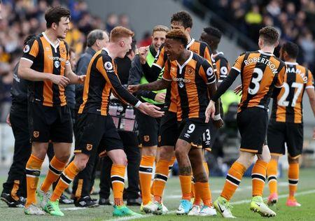 Hull City's Sam Clucas celebrates scoring their second goal with team mates