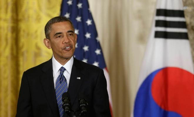 President Obama speaks during a press conference with South Korean President Park Geun Hye, on May 7 in Washington, D.C.