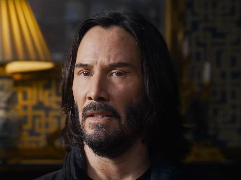 Keanu Reeves in the first trailer for 'The Matrix Resurrections' (Warner Bros)