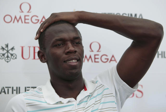 Jamaican athlete Usain Bolt gestures during a press conference in Lausanne, Switzerland, Wednesday, July 7, 2010. Bolt announced he may retire from sprint after the 2012 Olympics and switch to other disciplines such as the long jump.(AP Photo/Anja Niedringhaus)