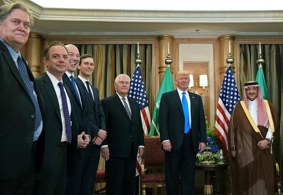 Trump, Tillerson (third from right) and other members of the U.S. delegation take part in a bilateral meeting with Saudi Crown Prince Muhammad bin Nayef bin Abdul-Aziz Al Saud at a hotel in Riyadh on May 20, 2017.