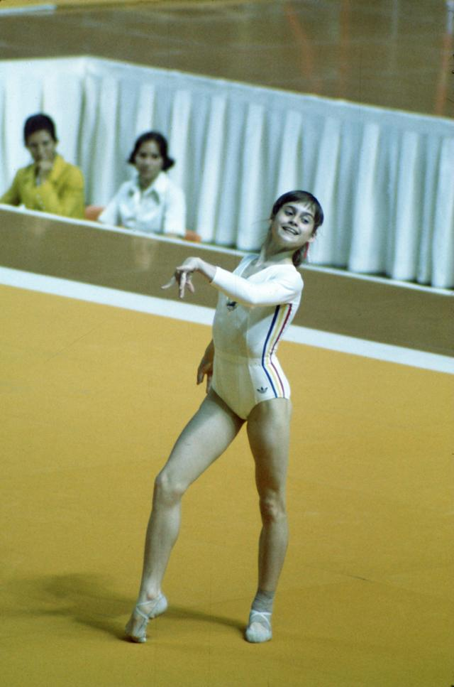 1976: Nadia Comaneci of Romania performs the floor excercise during the 1976 Summer Olympics in Montreal, Quebec, Canada. Mandatory Credit: Allsport USA/ALLSPORT
