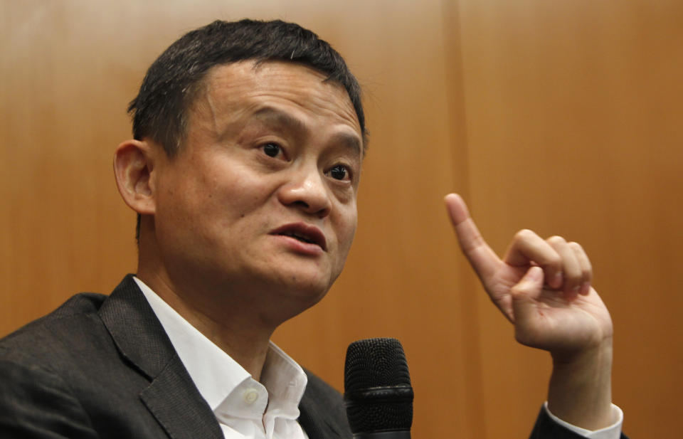 Jack Ma, Executive Chairman of Alibaba Group speaks during the press conference of Global Transformation Forum at Kuala Lumpur Convention Centre in Kuala Lumpur, Malaysia on Thursday, March 23, 2017. Chinese e-commerce giant Alibaba Group Holding Limited plans to set up a regional distribution hub in Malaysia to cater to its fast-growing business in the region, two sources aware of the discussions said. (AP Photo/Daniel Chan)