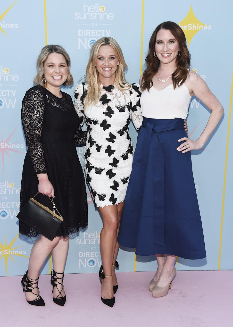 LOS ANGELES, CA - AUGUST 06: (L-R) Author Joanna Teplin, actress Reese Witherspoon and author Clea Shearer arrive at the AT&T & Hello Sunshine launch celebration of
