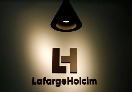 The company's new logo is pictured at the headquarters of LafargeHolcim in Zurich