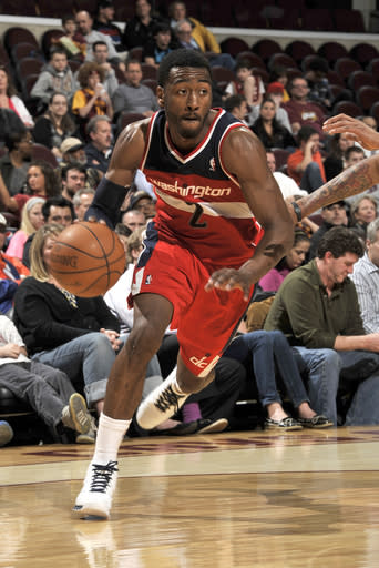 CLEVELAND, OH - APRIL 25: John Wall #2 of the Washington Wizards drives to the hoop against the Cleveland Cavaliers at The Quicken Loans Arena on April 25, 2012 in Cleveland, Ohio. (Photo by David Liam Kyle/NBAE via Getty Images)