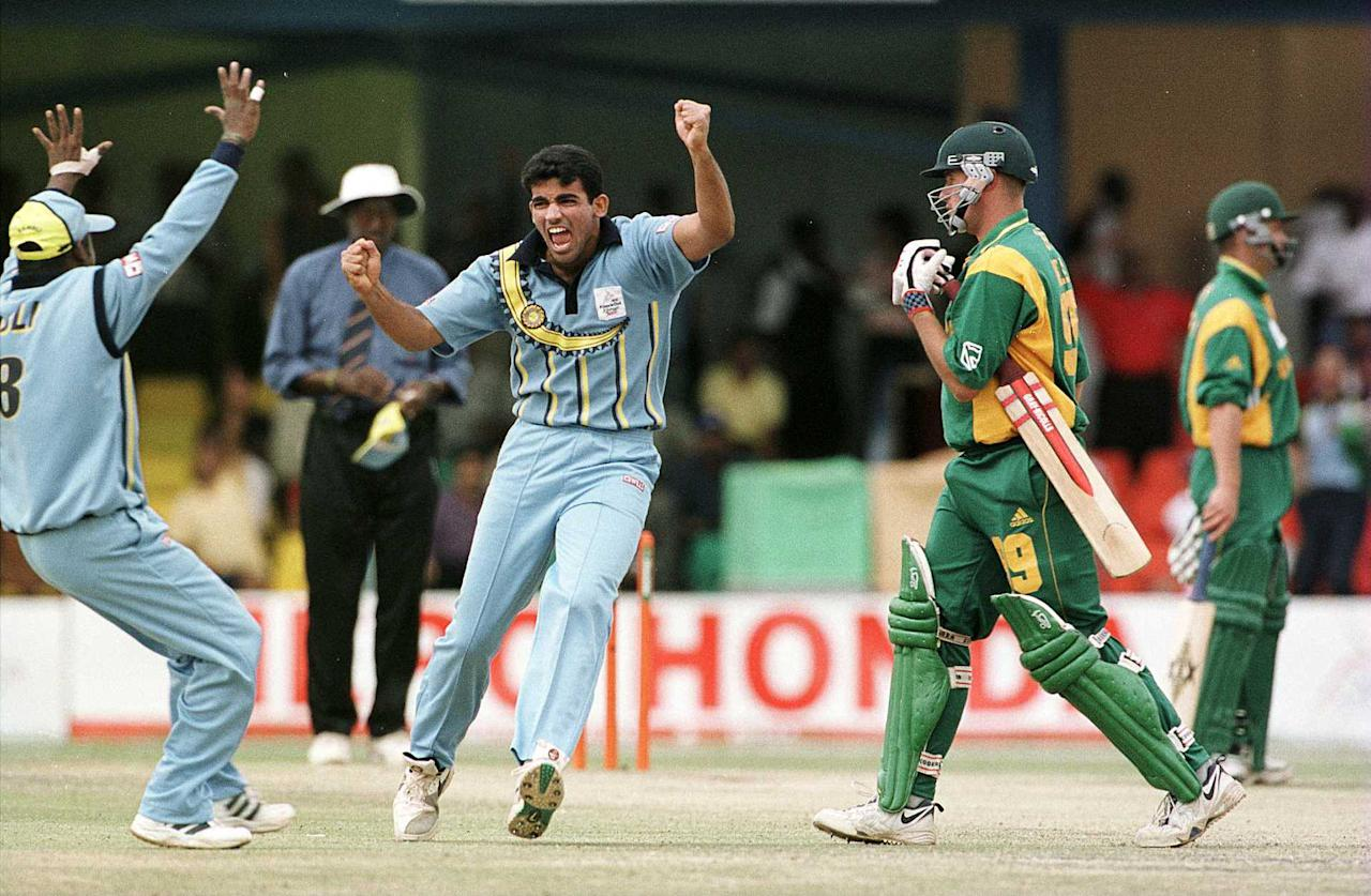 13 Oct 2000:  Zaheer Khan of India celebrates taking the wicket of Andrew Hall of South Africa during the India v South Africa Semi-Final of the ICC Knockout Tournament at the Gymkhana Ground, Nairobi, Kenya Mandatory Credit: Tom Shaw/ALLSPORT