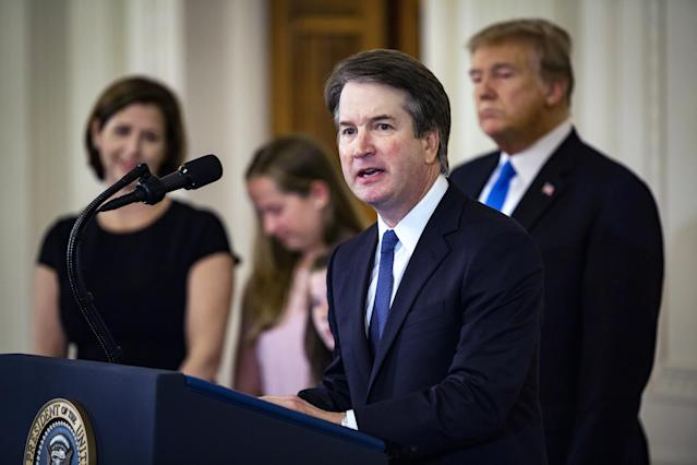 Kavanaugh speaks after being nominated for the Supreme Court with President Trump; Kavanaugh's wife, Ashley Estes Kavanaugh; and daughters Margaret and Liza standing by. (Photo: Al Drago/Bloomberg via Getty Images)