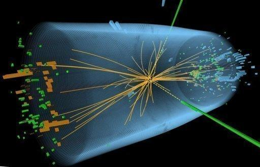 """A graphic from the European Organization for Nuclear Research (CERN) in Geneva shows a proton-proton collision event measured in the Compact Muon Solenoid (CMS) experience in the search for the Higgs boson. Physicists said Thursday the potential discovery of the """"God particle"""" was a gateway to a new era that could see humanity unlock some of the universe's great mysteries including dark matter"""