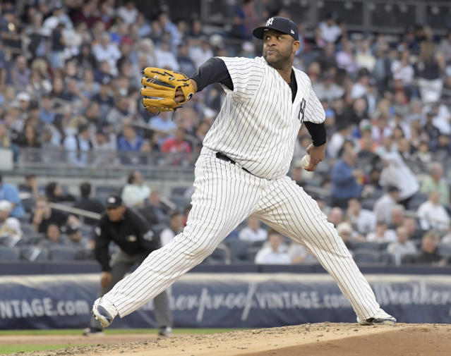 New York Yankees pitcher CC Sabathia delivers the ball to a Washington Nationals batter during the third inning of a baseball game Tuesday, June 12, 2018, at Yankee Stadium in New York. (AP Photo/Bill Kostroun)