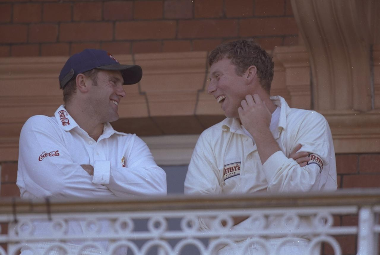 20 Jun 1997:  The Ashes captains, Mark Taylor of Australia (left) and Mike Atherton of England share a joke on the balcony during the second test match against Australia at Lords Cricket Ground in London, England. The match ended in a draw. \ Mandatory Credit: Adrian Murrell /Allsport