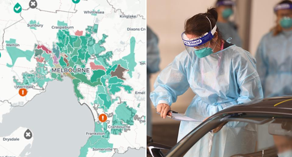 A Department of Health map, pictured left, shows where Covid-19 fragments have been detected in wastewater in Melbourne. On the right is a health care worker at a Melbourne drive-thru testing clinic.