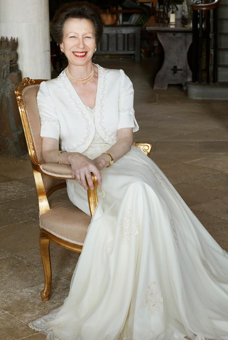 Anne is pictured smiling at her Gatcombe Park home in Gloucestershire (Camera Press via Getty Images)