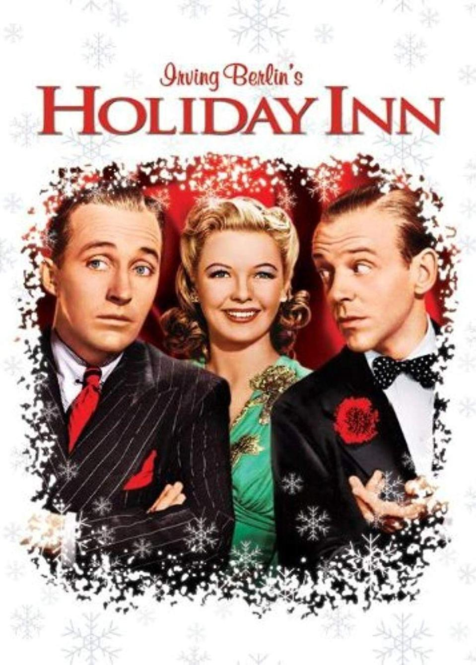 """<p>This 1942 Irving Berlin musical starring Bing Crosby and Fred Astaire features a song for each holiday of the year, but it begins and ends with Christmas.</p><p><a class=""""link rapid-noclick-resp"""" href=""""https://www.amazon.com/Holiday-Inn-Bing-Crosby/dp/B000M39HB8/?tag=syn-yahoo-20&ascsubtag=%5Bartid%7C10055.g.1315%5Bsrc%7Cyahoo-us"""" rel=""""nofollow noopener"""" target=""""_blank"""" data-ylk=""""slk:WATCH NOW"""">WATCH NOW</a></p>"""