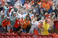 Sam Houston State fans react to a play that was called back against the South Dakota State during the first half of the NCAA college FCS Football Championship in Frisco, Texas, Sunday, May 16, 2021. (AP Photo/Michael Ainsworth)