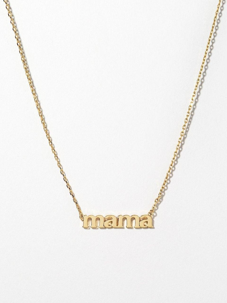 "<h2>Ana Luisa ""Mama"" Necklace</h2><br><br><strong>Ana Luisa</strong> Mama Necklace, $, available at <a href=""https://go.skimresources.com/?id=30283X879131&url=https%3A%2F%2Fwww.analuisa.com%2Fproducts%2Fmama-necklace"" rel=""nofollow noopener"" target=""_blank"" data-ylk=""slk:Ana Luisa"" class=""link rapid-noclick-resp"">Ana Luisa</a>"