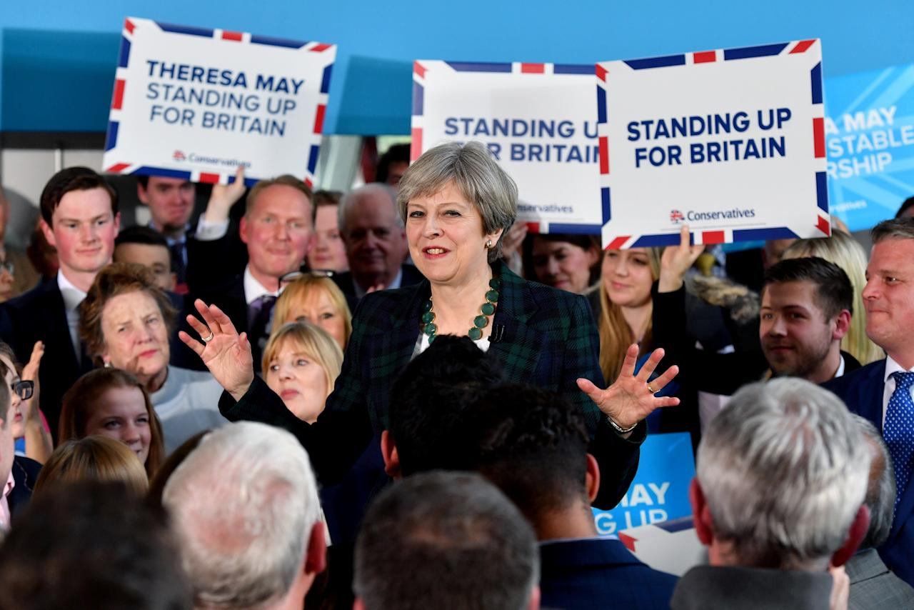 Britain's Prime Minister Theresa May speaks to supporters at a campaign event at Shine Centre in Leeds, Britain, April 27, 2017. REUTERS/Anthony Devlin/Pool     TPX IMAGES OF THE DAY