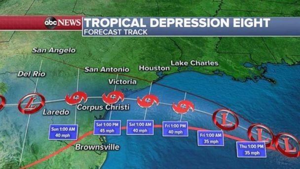 PHOTO: The most imminent storm is tropical depression eight, which is forecast to become weak Tropical Storm Hanna. It is forecast to bring heavy rain and flash flooding to Texas. (ABC News)