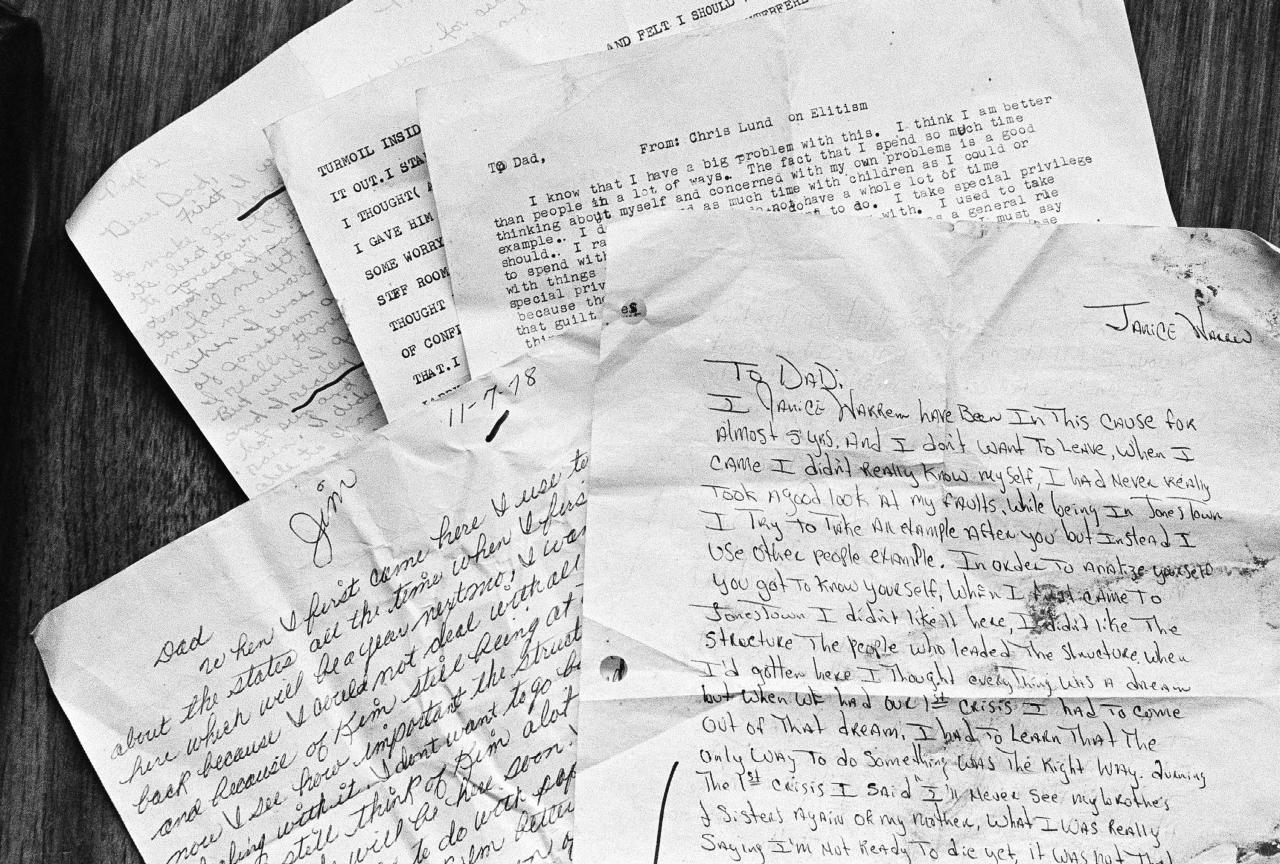 <p>Some of the letters that were found outside the home of Jim James Jones, where a mass suicide claimed 912 lives, Nov. 26, 1978, Jonestown, Guyana. (AP Photo/Ray Stubblebine) </p>