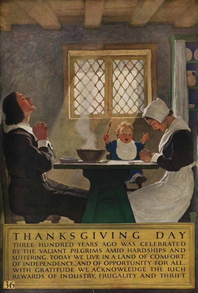 "Undated — Printed by ""National Service Bureau"", Pilgrim family sit down to enjoy Thanksgiving meal, illustrated by NC Wyeth. ""…With gratitude we acknowledge the rich rewards of industry, frugality and thrift."" — Image by © David Pollack/Corbis"