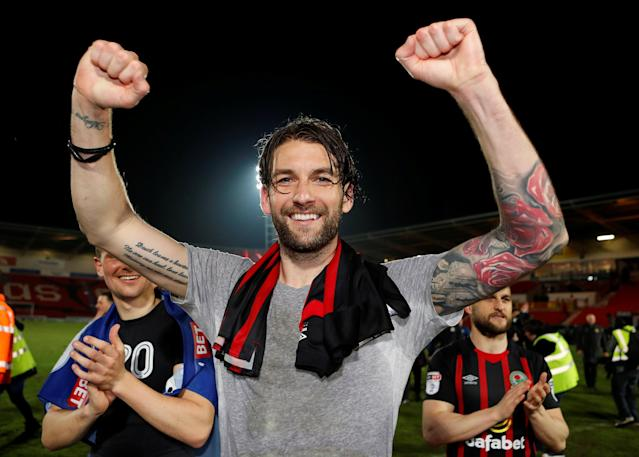 "Soccer Football - League One - Doncaster Rovers v Blackburn Rovers - Keepmoat Stadium, Doncaster, Britain - April 24, 2018 Blackburn Rovers' Charlie Mulgrew celebrates after the match Action Images/Lee Smith EDITORIAL USE ONLY. No use with unauthorized audio, video, data, fixture lists, club/league logos or ""live"" services. Online in-match use limited to 75 images, no video emulation. No use in betting, games or single club/league/player publications. Please contact your account representative for further details."