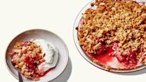 "This crisp is a delicious dessert, but also a perfectly acceptable brunch (or breakfast): The oat topping channels granola with olive oil, almonds, and maple syrup, and the filling is barely sweetened, instead taking advantage of in-season berries. <a href=""https://www.bonappetit.com/recipe/strawberry-granola-crisp?mbid=synd_yahoo_rss"" rel=""nofollow noopener"" target=""_blank"" data-ylk=""slk:See recipe."" class=""link rapid-noclick-resp"">See recipe.</a>"