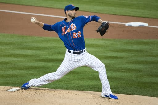 New York Mets' Rick Porcello (22) delivers a pitch during the first inning of a baseball game against the Washington Nationals Tuesday, Aug. 11, 2020, in New York. (AP Photo/Frank Franklin II)