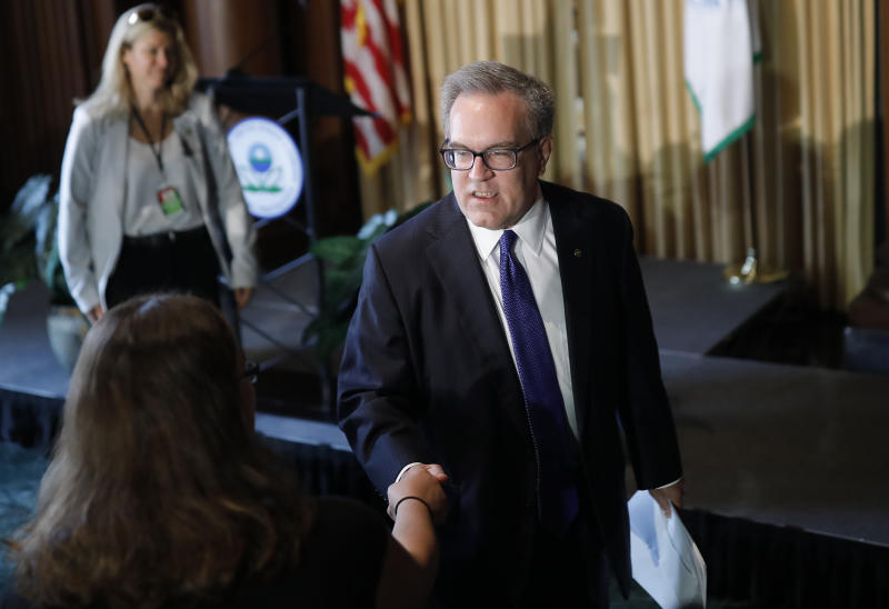 "Acting EPA Administrator Andrew Wheeler addressed staffers at the agency's headquarters in Washington on July 11. He said he was instructed by President Donald Trump to ""clean up the air, clean up the water and provide regulatory relief."" (Ting Shen / Reuters)"