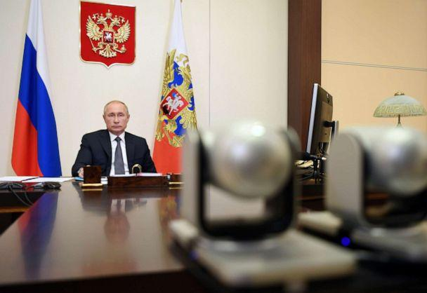 PHOTO: Russian President Vladimir Putin chairs a meeting with members of his government via video link at the Novo-Ogaryovo state residence outside Moscow, Russia, on Aug. 11, 2020. (Sputnik/Aleksey Nikolskyi/Kremlin via Reuters)