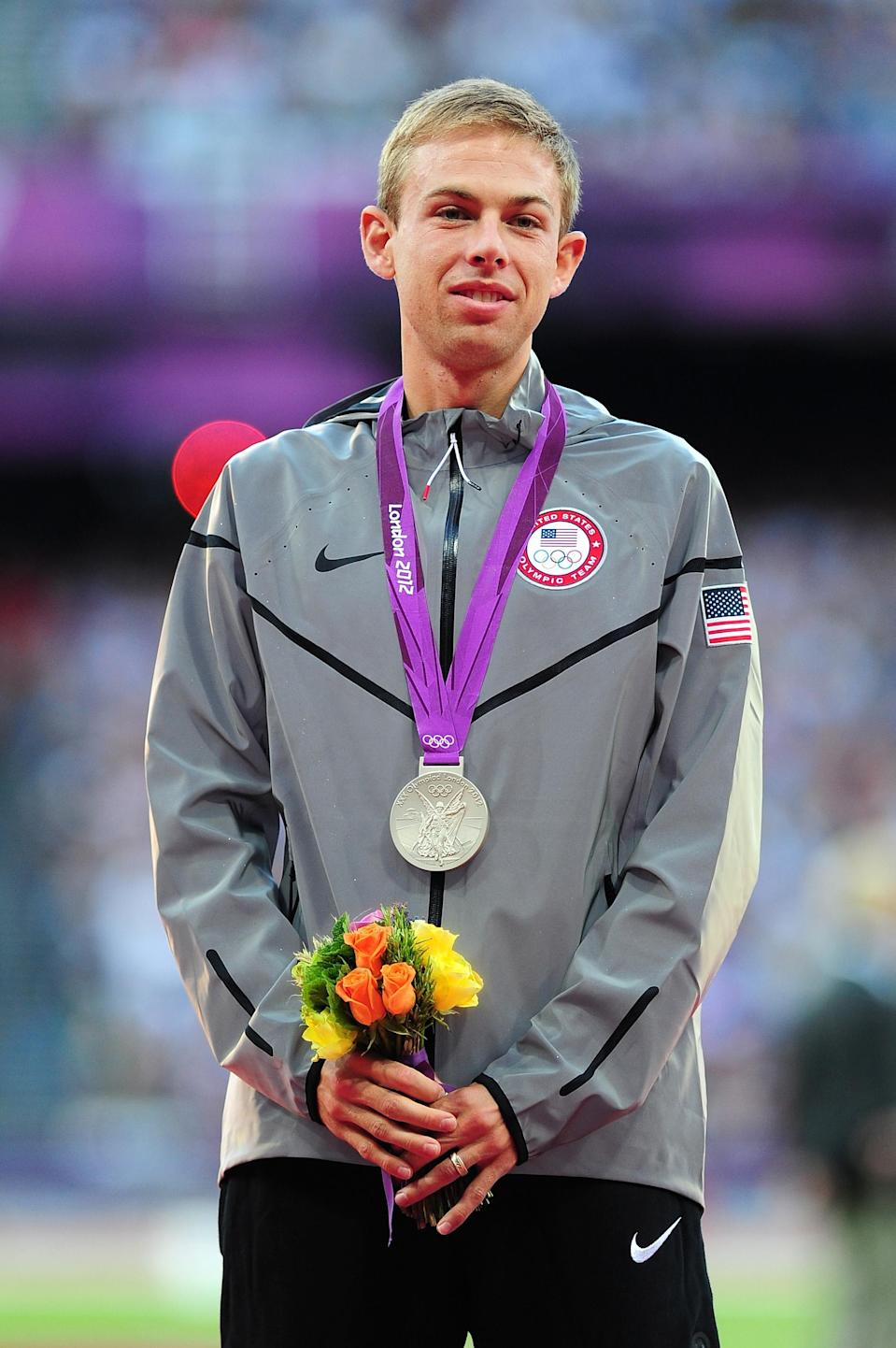 """Silver medalist <a href=""""http://sports.yahoo.com/olympics/track-field/galen-rupp-1133597/"""" data-ylk=""""slk:Galen Rupp"""" class=""""link rapid-noclick-resp"""">Galen Rupp</a> of the United States poses on the podium for Men's 10,000m on Day 9 of the London 2012 Olympic Games at the Olympic Stadium on August 5, 2012 in London, England. (Photo by Mike Hewitt/Getty Images)"""