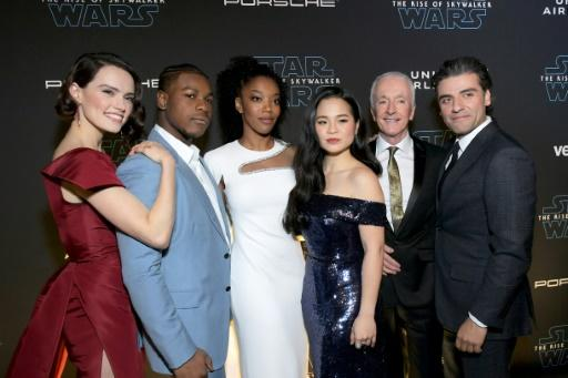 """The Rise of Skywalker"" actors from non-white backgrounds include John Boyega, Naomi Ackie (white dress) and Kelly Marie Tran, pictured at the world premiere on December 16, 2019 with fellow cast members Daisy Ridley, Anthony Daniels and Oscar Isaac"