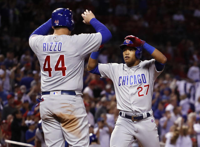 "Cubs shortstop <a class=""link rapid-noclick-resp"" href=""/mlb/players/9604/"" data-ylk=""slk:Addison Russell"">Addison Russell</a> is congratulated by teammate <a class=""link rapid-noclick-resp"" href=""/mlb/players/8868/"" data-ylk=""slk:Anthony Rizzo"">Anthony Rizzo</a> after hitting a three-run home run in the Cubs division-clinching win. (AP)"
