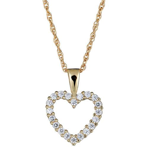Le Reve Collection Cubic Zirconia & Yellow Gold Heart Pendant. Image via Best Buy.