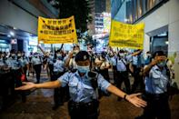 Police were out in force across Hong Kong to ensure no mass gatherings took place