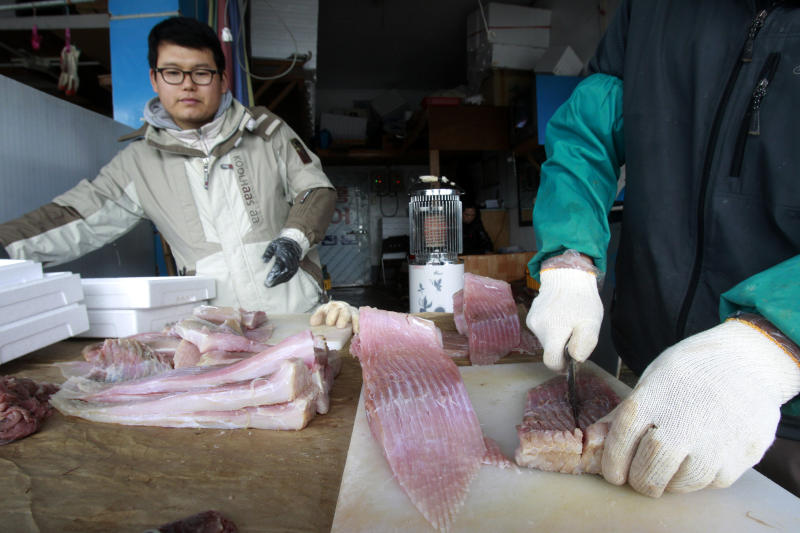 In this Feb. 19, 2014 photo, a skate seller cuts a skate for shipment to customers around South Korea at a fish market in Mokpo, a port city on the southwestern tip of the Korean Peninsula. The aroma of one of South Korea's most popular delicacies is regularly compared to rotting garbage and filthy bathrooms. And that's by fans. The unusual dish is typically made by taking dozens of fresh skate, a cartilage-rich fish that looks like a stingray, stacking them up in a walk-in refrigerator and waiting. Up to a month in some cases. (AP Photo/Ahn Young-joon)