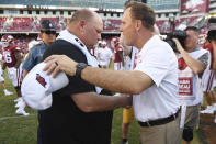 Arkansas coach Chad Morris, right, and Portland State coach Bruce Barnum shake hands following Arkansas' 20-13 win in an NCAA college football game Saturday, Aug. 31, 2019, in Fayetteville, Ark. (AP Photo/Michael Woods)