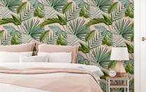 """<p>The most original green hues are those found in the great outdoors, so try channeling nature to bring a breath of fresh air to your bedroom. </p><p>While you can literally opt for a selection of indoor plants, there is also a wide choice of home decor and furnishings with are inspired by the outside world. </p><p>We love this green and pink wallpaper from B&Q for a light, tropical feel. </p><p><strong>B&Q Superfresco Easy Flow Green & pink Leaves Smooth Wallpaper,<a href=""""https://go.redirectingat.com?id=127X1599956&url=https%3A%2F%2Fwww.diy.com%2Fdepartments%2Fsuperfresco-easy-flow-green-pink-leaves-smooth-wallpaper%2F5011583474206_BQ.prd&sref=https%3A%2F%2Fwww.goodhousekeeping.com%2Fuk%2Fhouse-and-home%2Fhome-decorating-ideas%2Fg36449164%2Fgreen-bedroom-ideas%2F"""" rel=""""nofollow noopener"""" target=""""_blank"""" data-ylk=""""slk:£20 per 10m roll."""" class=""""link rapid-noclick-resp""""> £20 per 10m roll.</a> </strong></p>"""