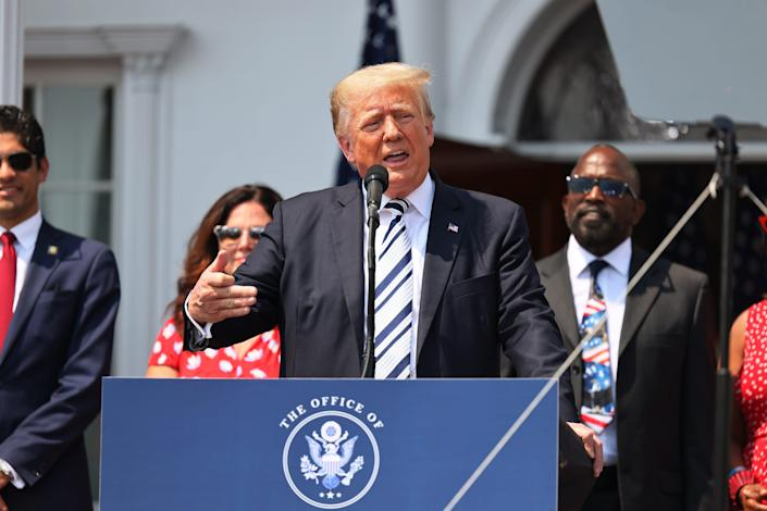 Former President Donald Trump announces lawsuits against Facebook, Twitter and YouTube in Bedminster, N.J., on July 7, 2021.