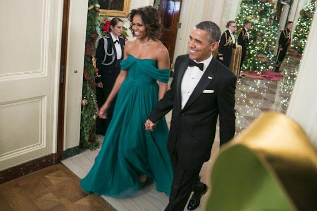 The Obamas at the 2013 Kennedy Center Honorees on Dec. 8 in Washington, D.C. (Photo: Getty Images)