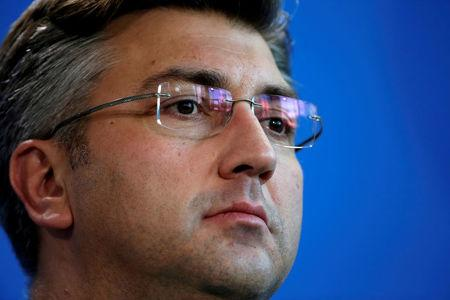 FILE PHOTO: Croatia's Prime Minister Plenkovic addresses a news conference at the chancellery in Berlin