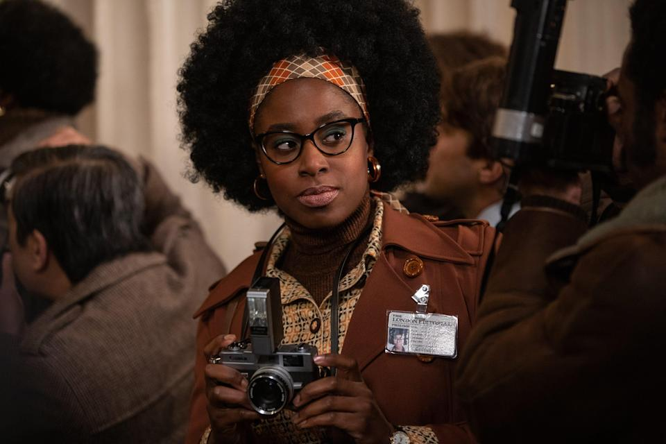 """Kirby Howell-Baptiste stars as gossip columnist Anita Darling, who gets a puppy present at the end of """"Cruella."""""""